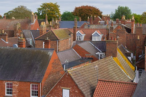 Houses, City, Brick, Architecture