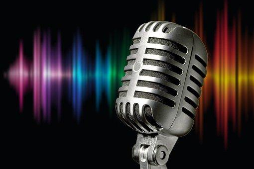 Microphone, Silver, Metal, Sound Waves