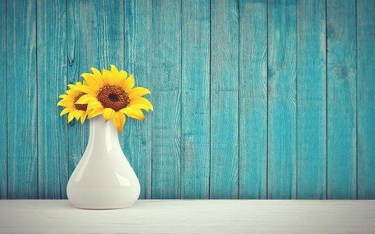 Sunflower, Vase, Vintage, Retro, Wall