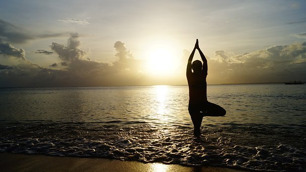 Beach, Sunset, Yoga, Meditate