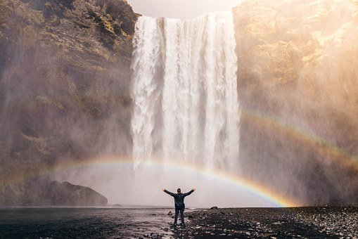 Waterfall, Rainbow, Spray, Water, Flow