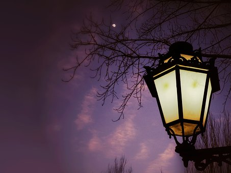 Street Lamp, Night, Moon, Landscape