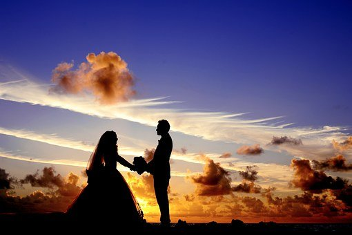 Sunset, Wedding, Bride, Groom, Couple
