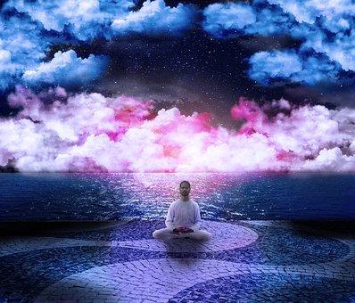 Cosmos, Posture, Lotus, Clouds, Pink