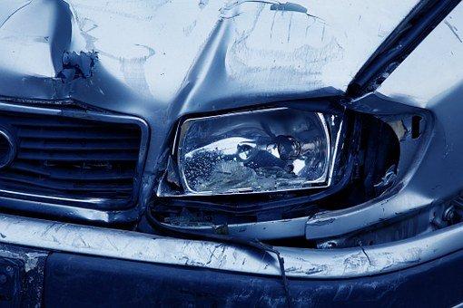 Headlamp, Accident, Auto, Blue, Broken